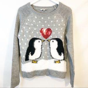 Clockhouse penguin holiday sweater NWOT sz L